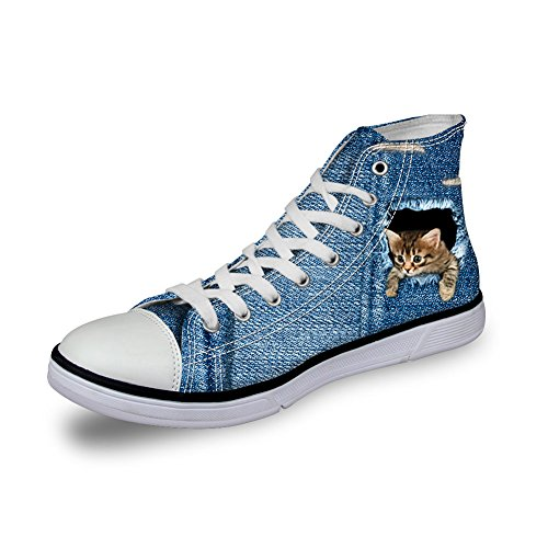 HUGSIDEA Cute Denim Cat Print Women Blue Jeans Sneakers Fashion High Top (Denim Canvas Footwear)