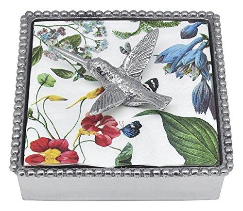 Mariposa 4021-C Hummingbird Beaded Napkin Box, One Size, Silver Beaded Cocktail Napkin Box