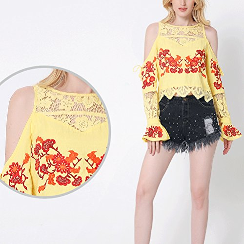 Zhhlinyuan Mujeres Women Fashion Embroidered Lace Hollow Splicing Tops Off Shoulder Shirt Casual Yellow
