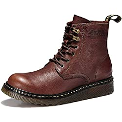 Men's Boots High-Top Leather Lace-Up Approach-hiking Mountaineering Outdoor Shoes Casual HXZ-ZS885G