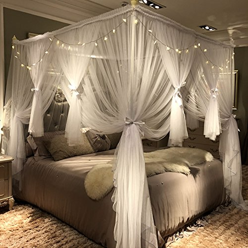 Joyreap 4 Corners Post Canopy Bed Curtain for Girls & Adults - Royal Luxurious Cozy Drapes - 3 Opening Mosquito Net - Cute Princess Bedroom Decoration Accessories(White,59