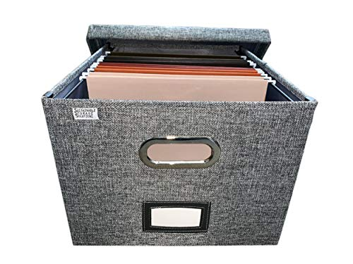 File Box Storage Organizer with File folders - Decorative Linen Hanging File Box - Letter/Legal Office File Storage Box - Metal Brackets for Easier Document Storage