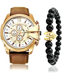 Men's Big Face Watch Gold Color Coolest Analog Stainless Steel Watches With Spartan Beaded Bracelet