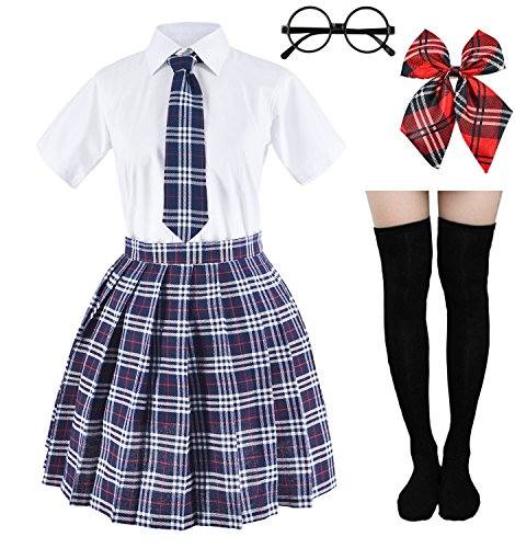 Japanese Tartan Pleated School Uniform Cosplay Costumes with Socks Eyeglass Frame Set (Gray)(L = Asia XL)(SSF11) -