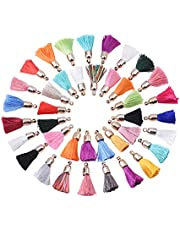 DanLingJewelry 100Pieces 25mm Polyester Tassel Pendants Silky Sewing Tassel with Caps for Key Chain Straps DIY Accessories