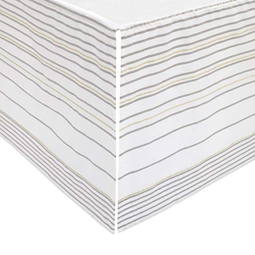 ED Ellen DeGeneres Starry Night - Soft 100% Cotton Grey, Gold, White Multi Stripes Crib Skirt, Grey, White, Gold