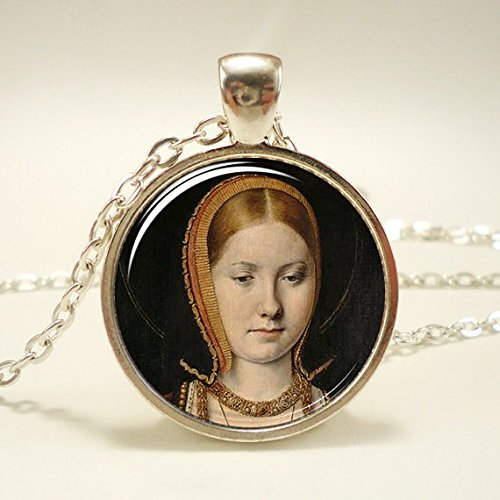 Catherine of Aragon Necklace, Queen of England Tudor Portrait Pendant, Henry VIII, Silver Plate