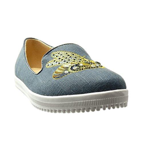 Angkorly - Zapatillas de Moda Mocasines Jeans Denim slip-on suela de zapatillas mujer bordado strass fantasía Talón tacón plano 0 CM - Azul