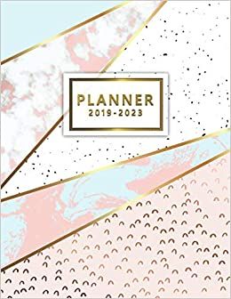 2019-2023 Planner: Five Year Planner Pink Gold Marble with ...