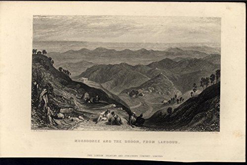 Mussoorie Northern India Beautiful Hilly Landscape c.1860 antique engraved print