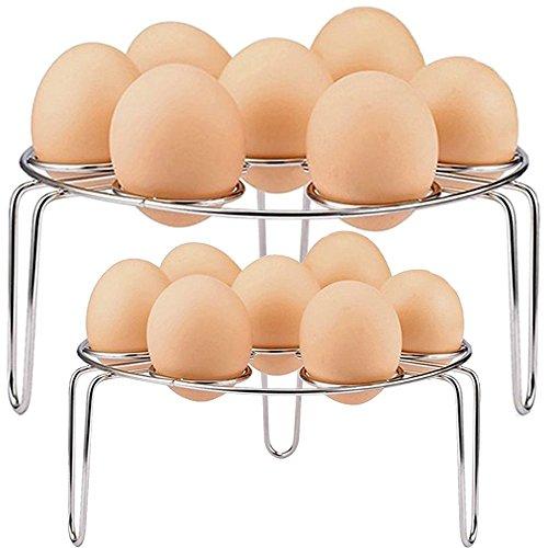 Cheflikes Egg Cooker Steamer Rack, Stainless Steel Food Steamer Rack Trivet for Instant Pot and Pressure Cooker Accessories (Pack of 2)