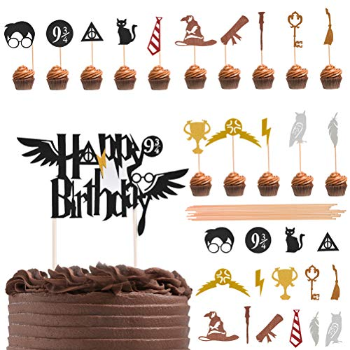 Harry Potter Cake Decorating - ATPWONZ 31 Pieces Harry Potter Inspired Cupcake Toppers Wizard Birthday Party Decorations for Harry Potter Theme Hogwarts Party Decor