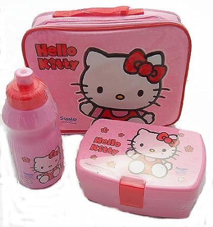bf139e2262 HELLO KITTY INSULATED SCHOOL LUNCH BOX + SANDWICH COOL BAG DRINKS BOTTLE SET  NEW: Amazon.co.uk: Baby