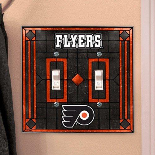 (Memory Company Philadelphia Flyers Art Glass Double Light Switch)