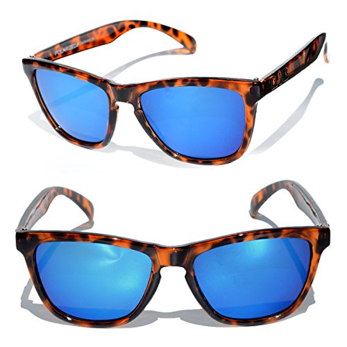 Polarized Tortoise Shell Sunglasses with Blue Mirrored Lenses by DANG - Dang Sunglasses