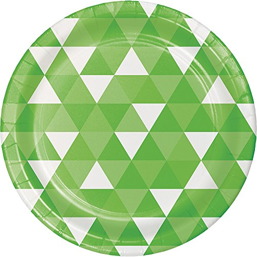 Lime Pattern Paper - Creative Converting 319963 96 Count Dinner/Large Paper Plates, Fractal Fresh Lime