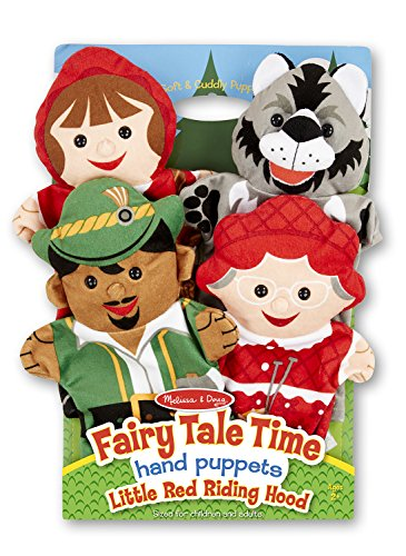 Melissa & Doug Fairy Tale Friends Hand Puppets (Set of 4) - Little Red Riding Hood, Wolf, Grandmother, and Woodsman