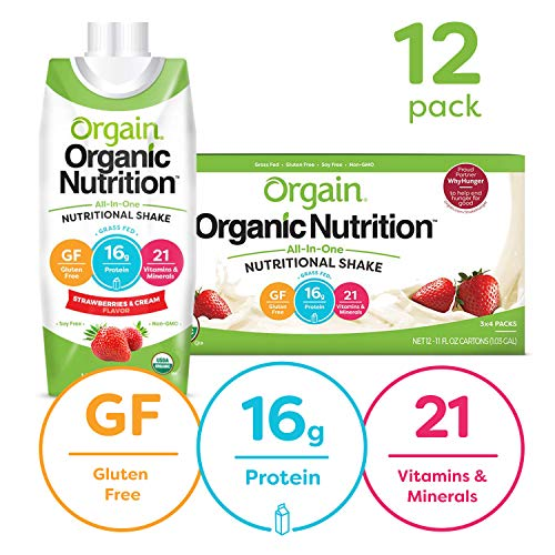 Orgain Organic Nutritional Shake, Strawberries & Cream - Meal Replacement, 16g Protein, 21 Vitamins & Minerals, Gluten Free, Soy Free, Kosher, Non-GMO, 11 Ounce, 12 Count (Packaging May Vary)