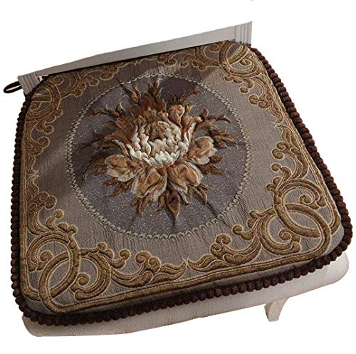 Sideli -2pc Classic Decorative Chair pad Seat Cushion Memory Filling 2 Belt Fix 16''x16'' (2, Peony-Coffee) by Sideli