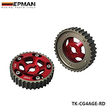 EPMAN Adjustable Cam Gears Timing Gear Pulley Kit For Toyota 84-89 4AGE Red, Pack Of 2