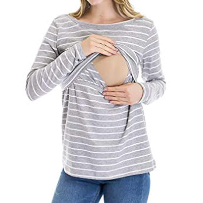 Mitlfuny Primavera Verano Camiseta de Lactancia Maternidad para Mujer Ropa premamá Embarazo EnfermeríA Camisa Mangas Larga Raya Doble Capa Blusa Mujeres ...
