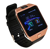 Aipker DZ09 Bluetooth Smartwatch with Camera Sync Samsung Sony Huawei LG Nexus HTC and Other Android Smartphones (Gold/Black)