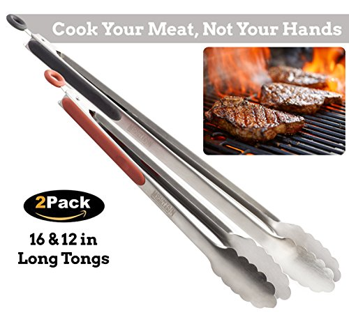Grill Tongs for Cooking BBQ - Heavy Duty Grilling Tongs for Cooking & Serving Food In The Sizes You Need - 12 & 16 Inch - Long Locking Stainless Steel Tongs For Kitchen & Barbecue - Cook Your Meat, No by Mountain Grillers