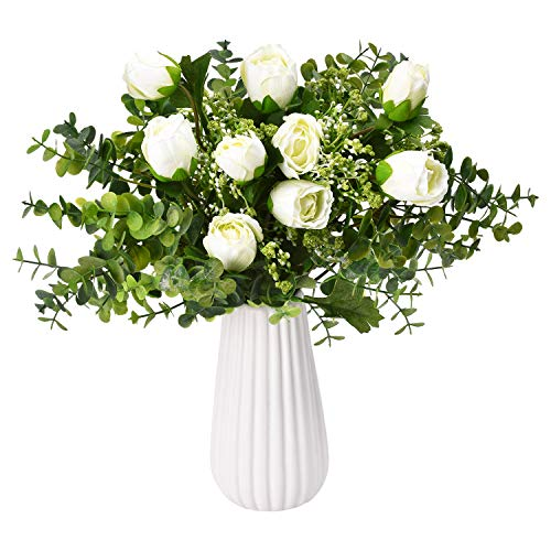 Sunm boutique Artificial Rose Bouquets with Baby's Breath Eucalyptus Leaves, Silky Rose Floral Bouquet, Artificial Silk Flowers Gypsophila Bouquet for Wedding Table Party Office Home Decor, Pack of 3