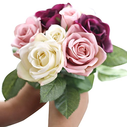 CHUNKUNA Artificial Flower, Artificial Rose Silk Bouquet Family Wedding Decoration (Beige) from CHUNKUNA