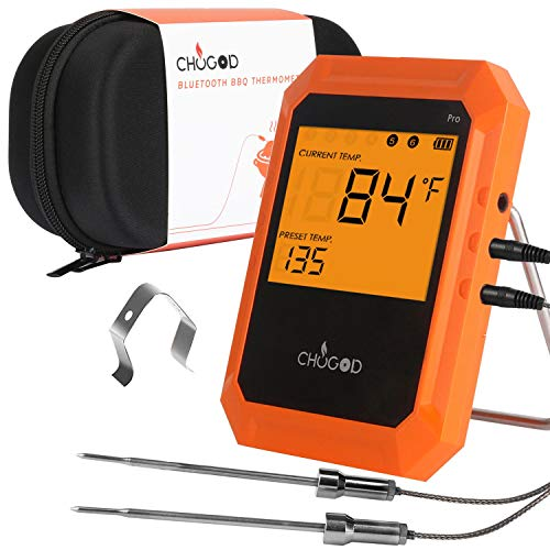 BBQ Meat Thermometer, Bluetooth Remote Cooking Thermometer, Digital Oven Thermometer with 6 Probe Port for Smoker Grilling (Carrying Case Included) ()