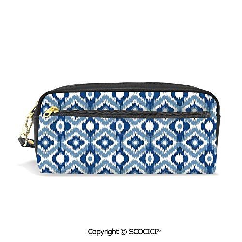 Students PU Pencil Case Pouch Women Purse Wallet Bag Ethnic Ikat Design with Regular Multi Shaft Loom Uneven Twill Trend Motif Decorative Waterproof Large Capacity Hand Mini Cosmetic Makeup Bag