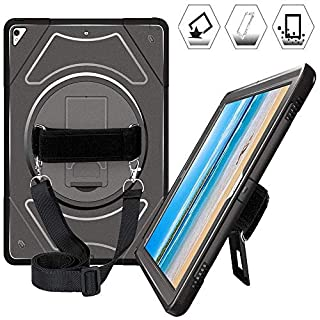 iPad Pro 12.9 Case 2017 2015, Heavy Duty Shockproof 12.9 Inch iPad Pro Case with 360 Degree Swivel Stand, Hand Strap & Shoulder Strap, Rugged iPad Pro 12.9 1st & 2nd Generation Case for Kids, Black