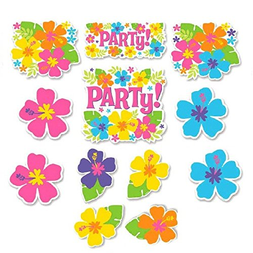Hawaiian Summer Luau Party Assorted Hibiscus Cutout Wall Decoration, 12 Pieces, Made from Paper, Multicolor, 7