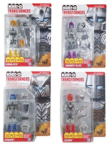 Kre-O Transformers Micro Changers Age of Extinction (AOE) Custom Kreons Collection 3 Bundle 4 Pack Includes: Grimlock, Dinobot Slug, Strafe & Scorn (1 of (Transformers Age Of Extinction Bumblebee Toy)
