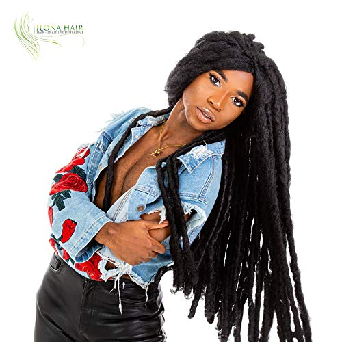 Long Dreadlocks Wig for Woman and Man Reggae Rasta Jamaican Bob Marley Costume Halloween Party Cosplay or Daily use African American Wigs