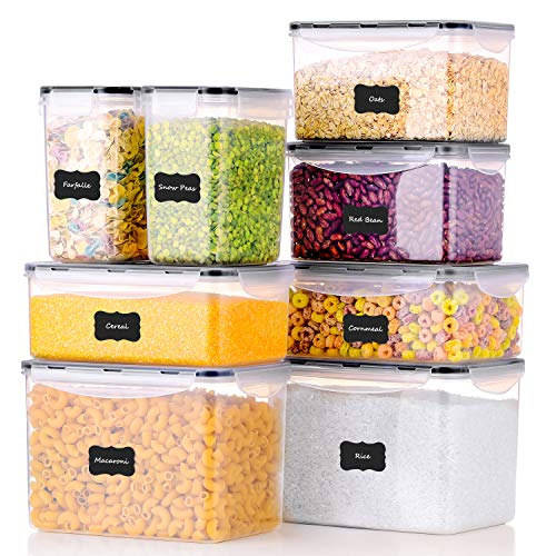 ME.FAN Food Storage Containers [Set of 8] Airtight Storage Keeper with 24 Chalkboard labels Ideal for Cereal, Sugar, Flour, Baking Supplies – BPA Free – Clear Plastic with Black Lids