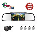 myTVS TVS-52 Video Reverse Parking Sensor,Digital Rear View Mirror and Camera with Nearest Object Distance Voice Alert - Silver