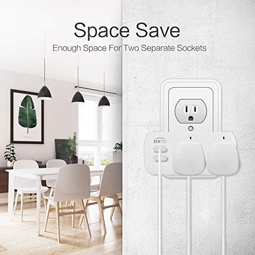 Smart Plug, JINTU Dual WiFi Socket Outlet 2 USB Charger Work with Alexa, Google, Remote Control by Smartphone, Voice Control, No Hub Required, Overload Protection