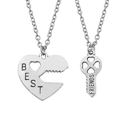 9f56d3a303 Amazon.com: palettei Best Friend Necklaces Key to The Heart Pendant  Necklaces Lock and Key Best Friend 2 Piece BFF Necklaces (Best Friends):  Jewelry