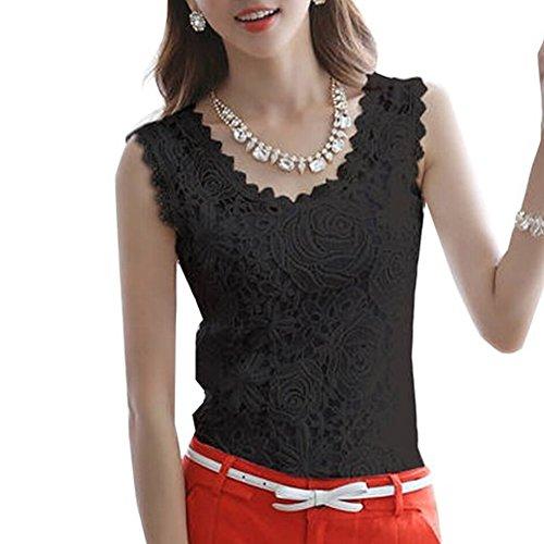21secret Fashion Women Elegant Lace Floral Sleeveless Crochet Knit Vest Tank Top Shirt Blouse