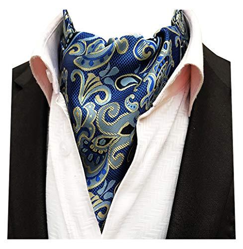 (MENDENG Men's Blue Gold Paisley Woven Silk Cravat Necktie Scarf Formal Ascot Tie)
