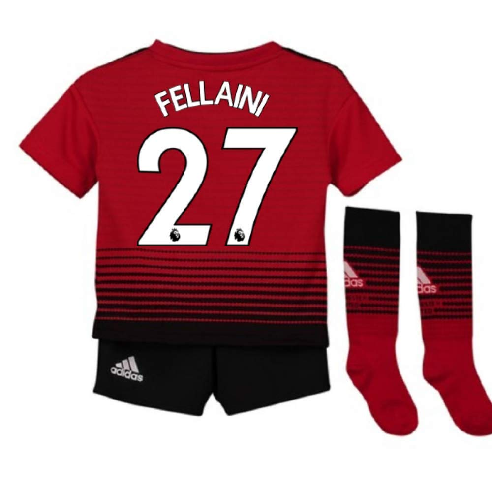 UKSoccershop 2018-2019 Man Utd Adidas Home Little Boys Mini Kit (Marouane Fellaini 27)