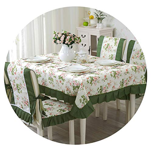 9 pcs/Set Print Table Cloth Romantic Tablecloth for Wedding European Style Dining Table Chair Covers Heart Pattern Tablecloths,mantingfang,About 150x200cm (European Table Dining Style)