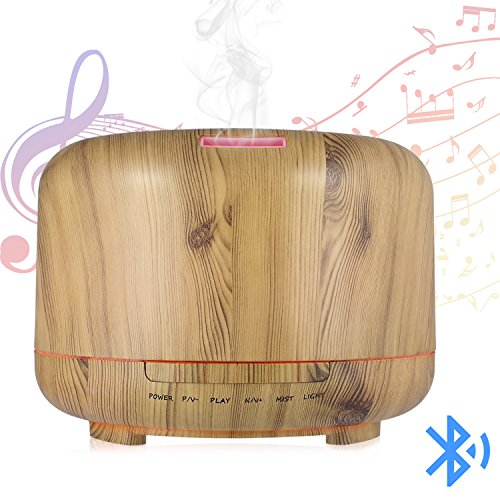Hrome Essential Oil Diffuser Humidifier with Bluetooth Speaker, 600ml Aroma Diffuser for Baby Rooms, Bedrooms, Spa and Office, Auto Shut-Off, Wood Grain (wood texture) (Diffusers Best Room)