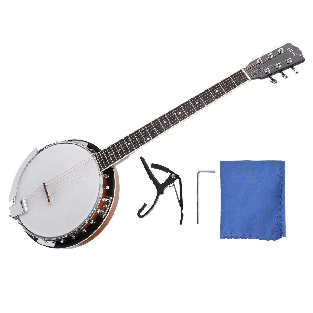 6 String Banjo, Sapele Banjo Instrument with Cloth, Capo, Wrench for Banjo Player by Dilwe