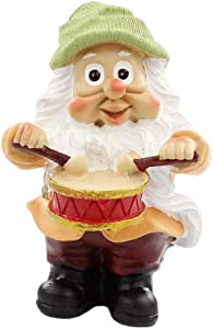 NW Wholesaler Fairy Garden Gnome Playing Drums - Miniature Gnome Figurine for Fairy Gardens or Indoor and Outdoor Garden Decor