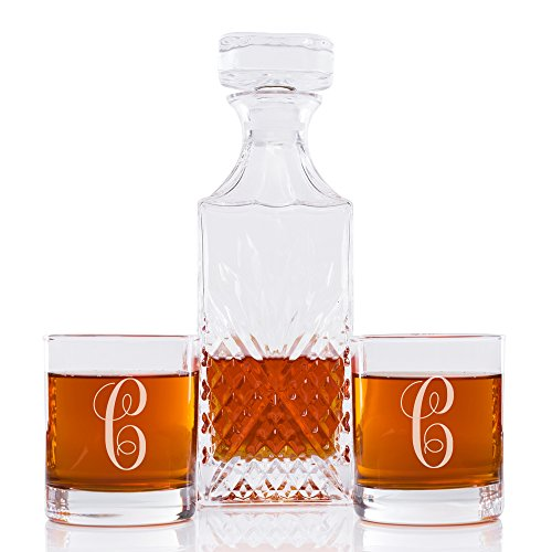 Abby Smith Lavish Style Initial Decanter and Engraved Rock Glass Set of 3, Letter C by Abby Smith (Image #4)