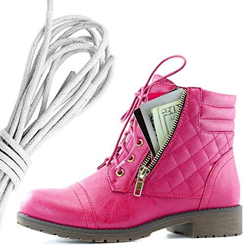 Dailyshoes Kvinners Militære Snøring Spenne Combat Boots Ankelen Høyt Eksklusivt Kredittkort Lomme, Elfenben Hot Pink Pu