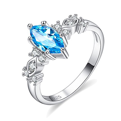 Psiroy 925 Sterling Silver Created Blue Topaz Filled Marquise Promise Ring for (Beautiful Promise Rings)