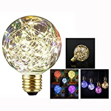 Cisixin 3W LED Bulbs with E27 Base G95 Edison Retro Filament Globe Spiral Design LED Lights Warm White 2200-2400K for Home | Party | Cafes | Bars Decorative